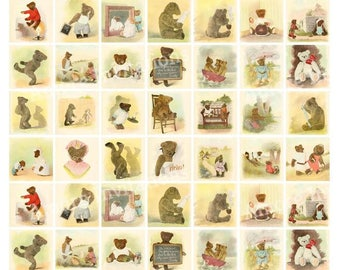 Printable Vintage Teddy Bears Digital Collage Sheet, Clip Art, Images, 1 x 1 Inch Squares  JPEG  Instant Downloadable, CU, Commercial Use