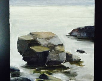 Lake Superior oil painting, North Shore oil painting, rocks in Lake Superior,