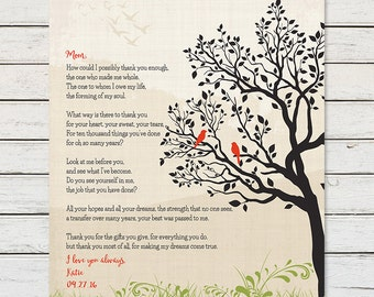 Gift for Mom from Daughter, Mothers Day Gift, Gift for Mom, Mom Birthday Gift, Personalized Gift for Mom, Poem for Mom, Thank You Mom