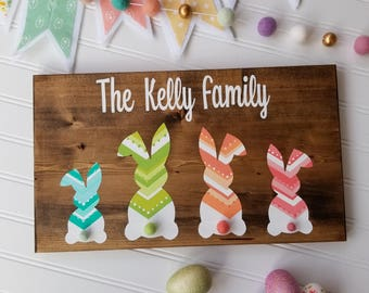 PERSONALIZED chevron bunny family sign. Spring/Easter