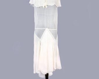 1920's ART DECO Sheer Ivory Silk Antique Flapper Dress - vintage , size medium, vintage Wedding dress