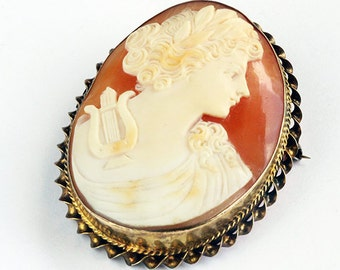 Antique Shell Cameo, Victorian Edwardian Muse of Music Hand Carved Large Pendant Brooch