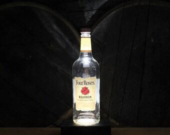 Four Roses Whiskey Bottle Lamp / Reclaimed Wood Desk Lamp / Handmade Bourbon Bottle Lamp / Whisky Bar Decor / Bar Lamp, Four Roses Gift