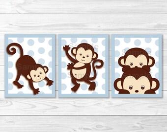 Cute Monkey Nursery Wall Art / Monkey Nursery / Monkey Nursery Theme / Baby Blue / Baby Boy Nursery /  PRINTABLE Instant Download A354