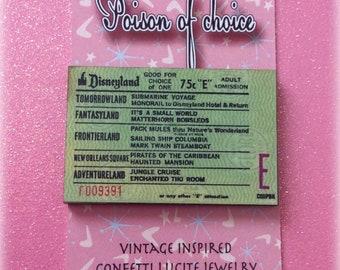 Vintage ticket brooch