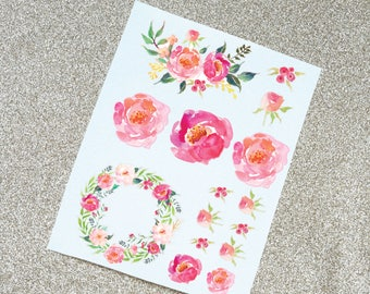 Watercolor Peony Decals, Full Sheet of Flower Decals, Vinyl Decal for tumbler or water bottle