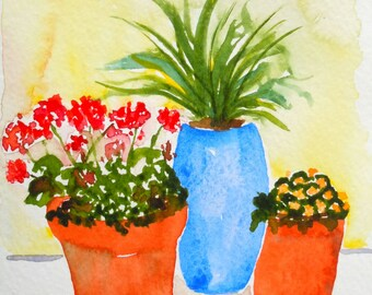 Geranium Pot Watercolor Notecard