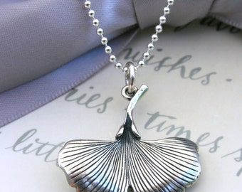Sterling Ginkgo Leaf necklace in your choice of chain length