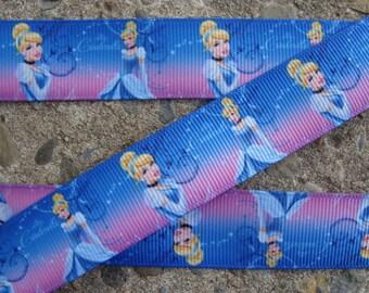 """3yards Cinderella Printed Ribbon hair Bow Ribbon Princess Cinderella 7/8"""" Ribbon Blue ribbon #001"""