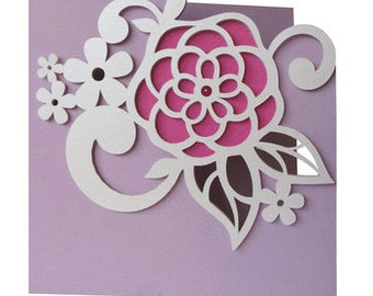 Friendship Flowers Card , Blank inside , Papercut , Family , Co-Workers , Happy , Smile