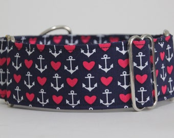 "Greyhound Love and Anchors 2"" Martingale Collar"