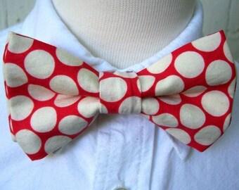 Bowtie Bow Tie for Boys As Seen In MARTHA STEWART WEDDINGS  Cherry Red Big Dot