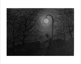 Black and White Painting - Original Acrylic Painting on Canvas - Figure and Trees Artwork - 'Reading in the Park' monochrome painting