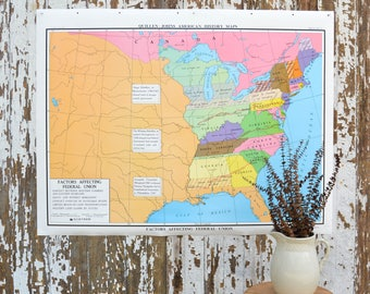 Vintage Large School Map - United States Nystrom History Poster Classroom US Canvas War