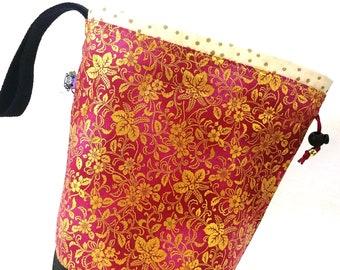 Small Knitting Project Bag Crochet Drawstring Tote WIP Bag - Elegant Leaf