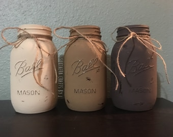 Rustic Large Painted Mason Jars, Large Painted Mason Jars, Rustic Mason Jars, Large Mason Jar decor, Mason Jar Kitchen Utensil Holders