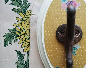 Decorative Wall Hook, Yellow Floral Wall Hanger, Key Hook, Cottage Chic Jewelry Organizer, Rustic Clothes Hanger, Feminine Bedroom Decor