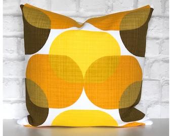 Original Vintage 1970s Orange Yellow Fabric Cushion Cover Retro Throw Pillow