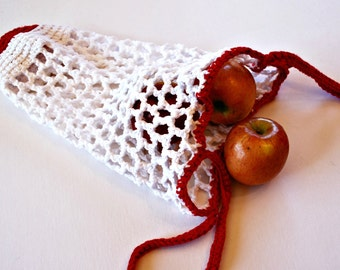 Red and White Market Tote, Bags and Purses, Market Bags, Grocery Bag, Mesh Tote, Fruit Tote, Reusable EcoFriendly Bag, Shopping Bag