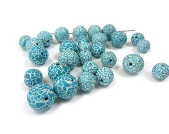 Matching Bead Set, Boho Beads Polymer, Unique Polymer Beads, Boho Beads Blue, Unique Beads Boho, Polymer Clay Beads, Turquoise White Beads
