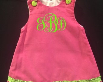 Hot Pink Corduroy with Lime Green Ruffle Edge Ribbon, Buttons and Monogram