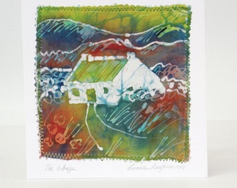 Cards Hand Painted Silk Cottages