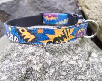 Comic Words dog collar, blue dog collar, medium dog collar, fun dog collar, dog collar for girl, dog collar for boy, boy dog collar