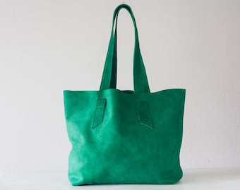 Green suede leather tote bag, raw edge leather purse shopper bag shoulder womens large market bag unlined leather tote  - Calisto bag
