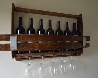 Wine Barrel  7 bottle wine rack and glass holder