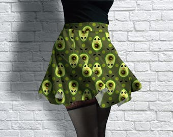 Cute Avocado Scuba Skater Skirt
