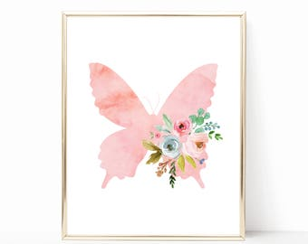 Butterfly Nursery Decor. Butterfly Nursery Print. Printable. Watercolor Butterfly Nursery Art. Pink Floral Butterfly Art. Girl Bedroom Decor