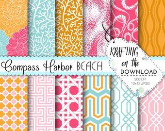 Summer Beach Digital Paper Pack Tropical Resort Digital Papers Pink and Orange, Teal Scrapbooking Pink Flower Digital Paper Instant Download