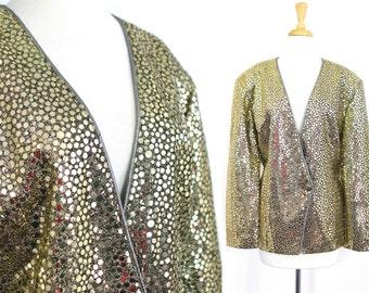Gold Blazer Vintage Sequin Plus Size 1X