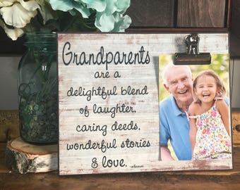 Grandparents Picture Frame Gift, Gift For Grandparents, Grandparents Are A Delightful Blend, Meme & Papa, Christmas Gift