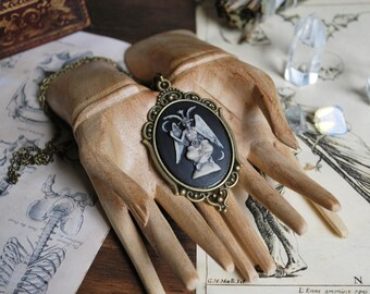 Baphomet necklace, occult  necklace , gothic jewelry, bronze pendant, black craft , gothic victorian, macabre, halloween, witch ,dark arts