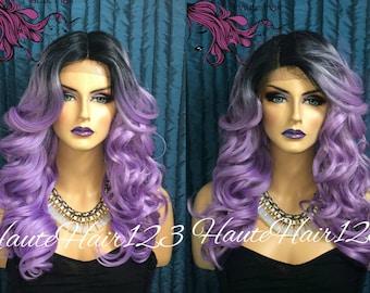 Purple Lavender Lilac Ombre Wig Lace Front Wig
