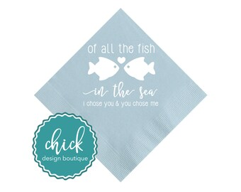 All the Fish Beverage Napkins Wedding Decor Fun Wedding Party Gifts Wedding Anniversary Party Gifts Custom Beverage 2D382B Heavenly