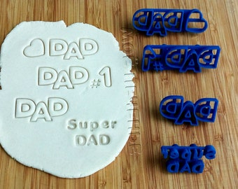 Father's Day Cookie Cutters Stamp Set   Heart   Frame   Gift   Dough cutter   Baking supply   Cookies for kids   Clay cutters   Dad