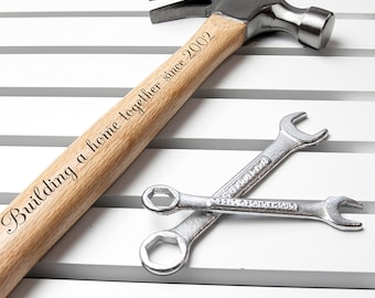 Personalised Wooden Hammer - Swirl Font - Gift For Him - DIY Dad - DIY Lover - Building Gift - Valentine Gift For Him - Free UK Delivery