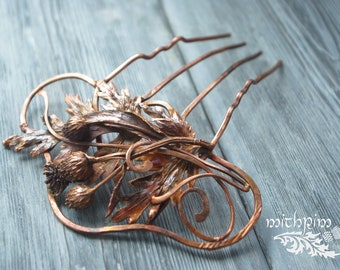 Massive copper hair comb, Electroforming thistle, Hair accessories, Medieval hair pin, copper hammered hair fork, LARP jewelry, leaf barette