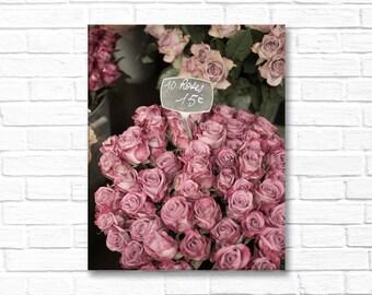 Paris Photograph on Canvas - Faded Roses, Paris, Gallery Wrapped Canvas, Photograph, Romantic Decor, Large Wall Art