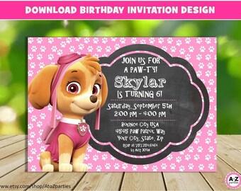 Paw patrol invitation editable text skye customizable paw skye paw patrol invitation editable text customizable paw patrol birthday party invite girl stopboris Choice Image