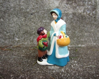 Vintage 1982 Avon McConnell's Corners Christmas Shopper Figure Mother Son Winter