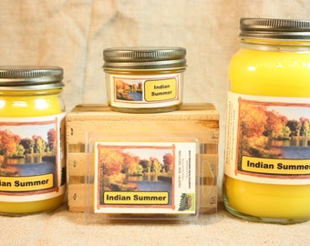 Indian Summer Candle and Wax Melts, Nature Scent Candle, Highly Scented Candles and Wax Tarts, Autumn Scent Candle, Great Fall Scent Candle
