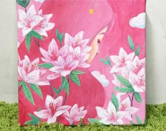 Original Painting   Girl with Azalea flowers