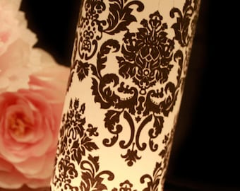 Damask Wedding Decor, Black & White Wedding, Damask luminary, Black and White Damask Wedding- set of 10, party table decorations, luminaries