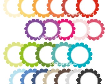 Scalloped Circle Frames Clip Art Set - colorful printable digital clipart - instant download