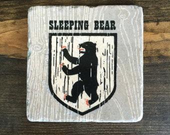 Sleeping Bear Dunes Michigan Coaster Tile with cork backing
