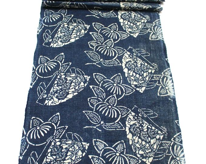 Japanese Katazome Cotton. Boro Textile. Natural Indigo Stencil Dyed Folk Fabric  (Ref: 1859)