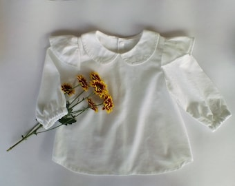 Girls clothing/long sleeve shirt/ girls white blouse/winter clothing/toddlers clothing/made in Australia